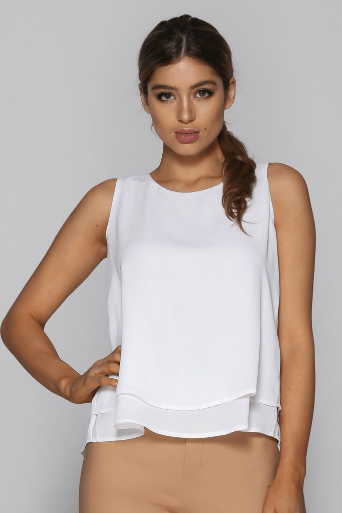 Casual aspen tank top in white bad af fashion