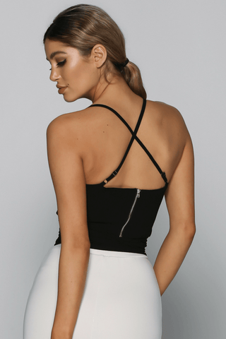 Thea Wrap Crop Top in Black