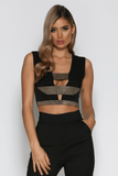 Empress Crop Top in Black & Gold