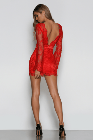 Scarlett Lace Dress in Red