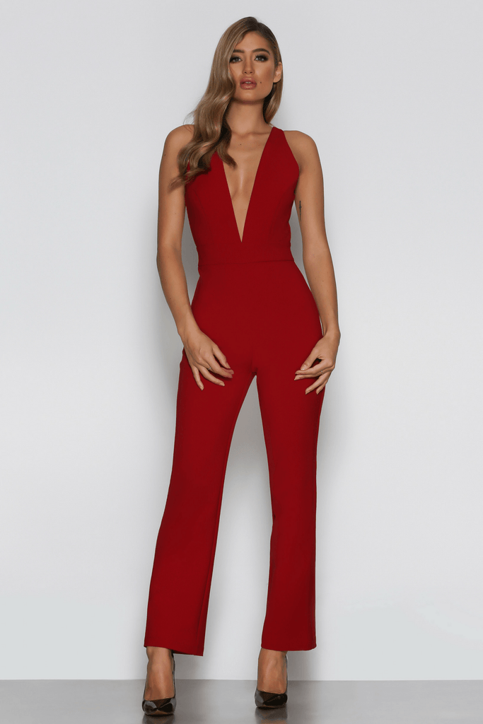 Sophie Jumpsuit in Wine - Bad AF Fashion