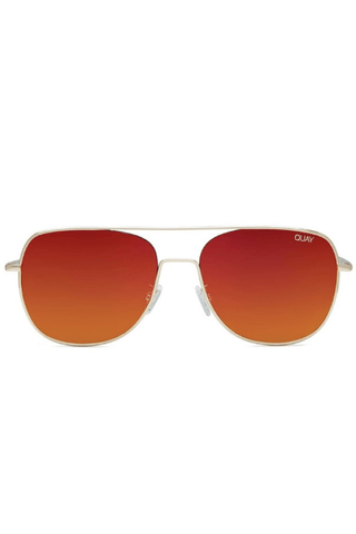 Running Riot Sunglasses Gold/Red - QUAY AUSTRALIA