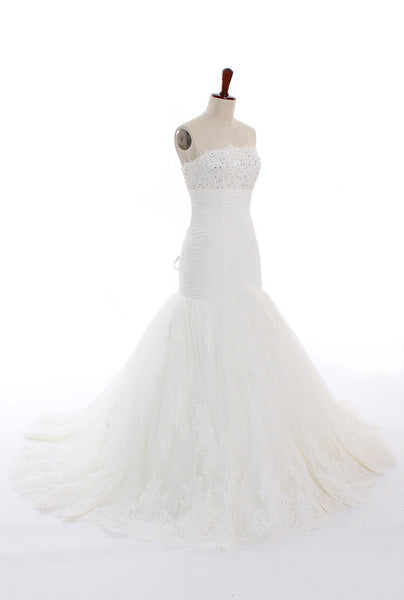 Mermaid White Great Wedding Dresses #W015