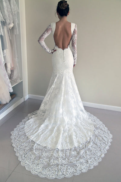 Mermaid Long Sleeves White Lace Wedding Dress #W030