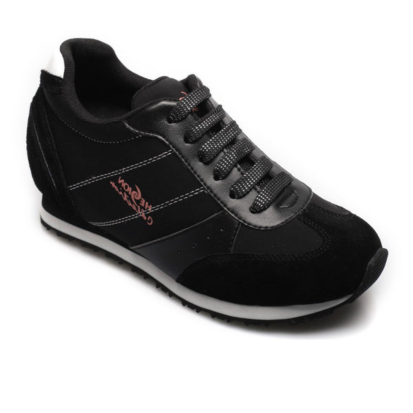 Fashion Women Hidden Taller 2.56 Inch Heel Black Athletic Running Elevator Shoes Sneakers #W1550