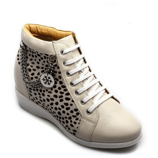 Elevator Shoes Women Leopard Pattern Creamy White Boot #CW68B06