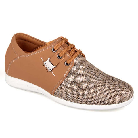 2015 Spring Summer New Men Casual Apricot Microfiber Elevator Shoes #LX83H31-1