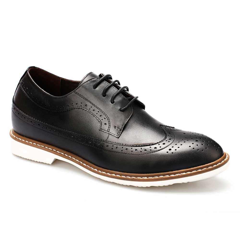 Men Bullock Embossing Increasing Height Black Casual Elevator Shoes #DX60B06