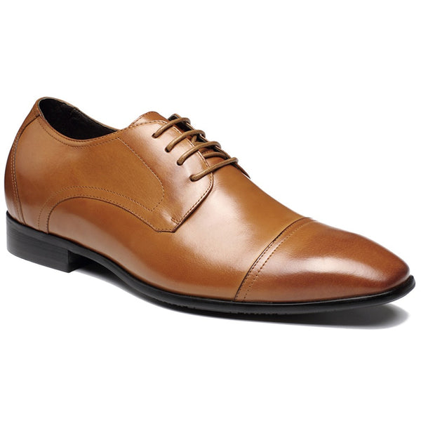 Brown Dress Height Increasing Shoes Genuine Leather Shoes #D09K011