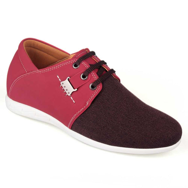 2015 Spring Summer New Men Casual Rose Red Microfiber Elevator Shoes # LX83H31-2