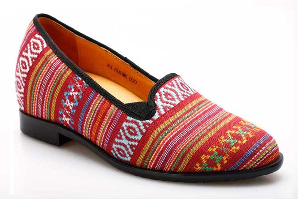 Vintage Style Women Multicolor Striped Casual Elevator Shoes 5.5CM/2.17 Inch Taller #DW93K01