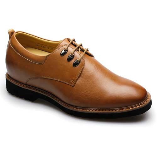 Luxury Noble Men Tailor Made Best Quality Yellow Brown Cow Leather 7.5CM Taller Shoes #J225A31-2