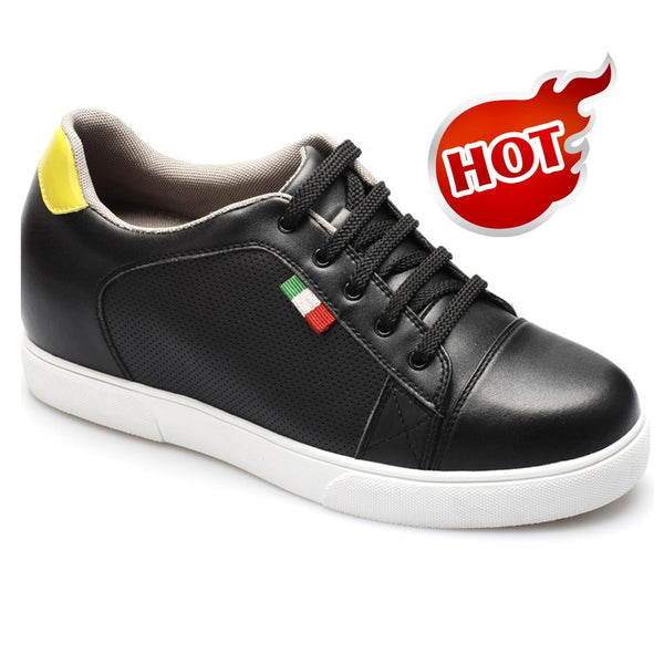 Hot Sale Men Black Microfiber Increasing Height 7cm Taller Sport Shoes #LK19F16A