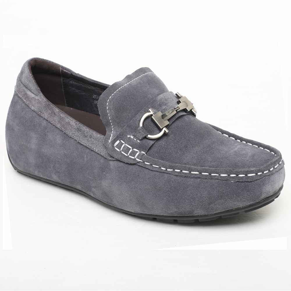 Suede leather casual driving elevator shoes to be taller 5.5cm #032H08