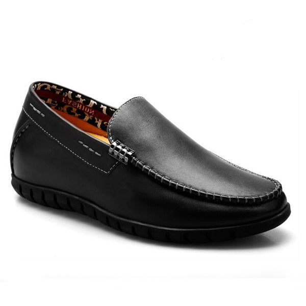 Soft cow leather elevator loafers for men to get taller #333K01-1