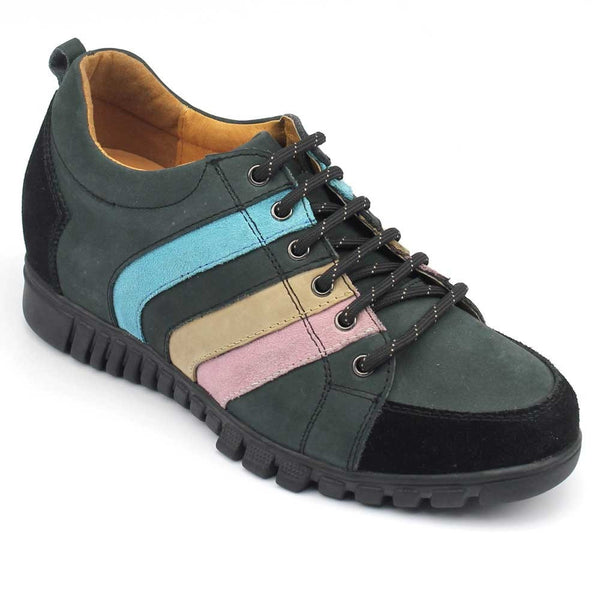 Casual Women Sport Comfortable With Lifts 6.5CM Grey Microfiber Elevator Shoes #W45F31