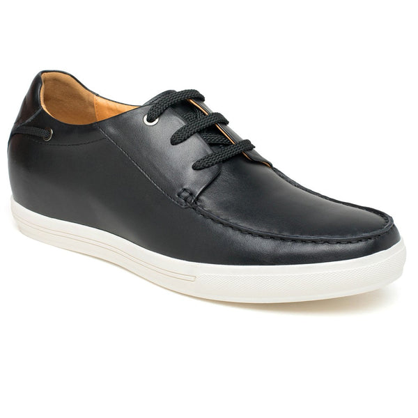 Black cow leather increase height men casual shoes #DG9108