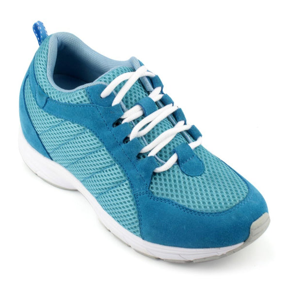 Hot Sale Casual Women Sport Style Blue Microfiber Elevator Shoes Insoles 6.5CM #W50F10B
