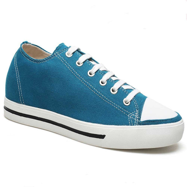 Classic Men Casual Solid Daily Sneakers Canvas Flats Sports Look Taller 6CM Shoes Blue #H52C08K014D