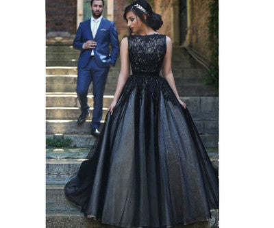 A-Line Real Made Black Evening Dresses # T14