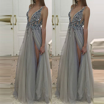 Backless Deep V Neck Grey Beads Long Prom Dress Evening Gown LD011