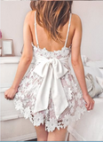 Fashion V Neck Spaghetti Straps Ivory Lace Mini Homecoming Dresses Prom Hoco Dress LD1419