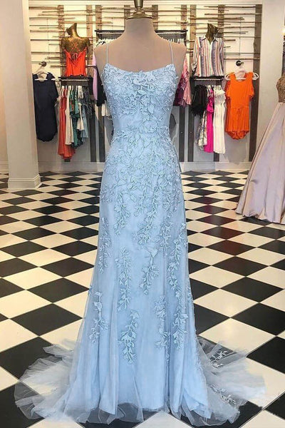 Open Back Spaghetti Straps Light Blue Lace Mermaid Long Prom Dresses Evening Dress LD1509