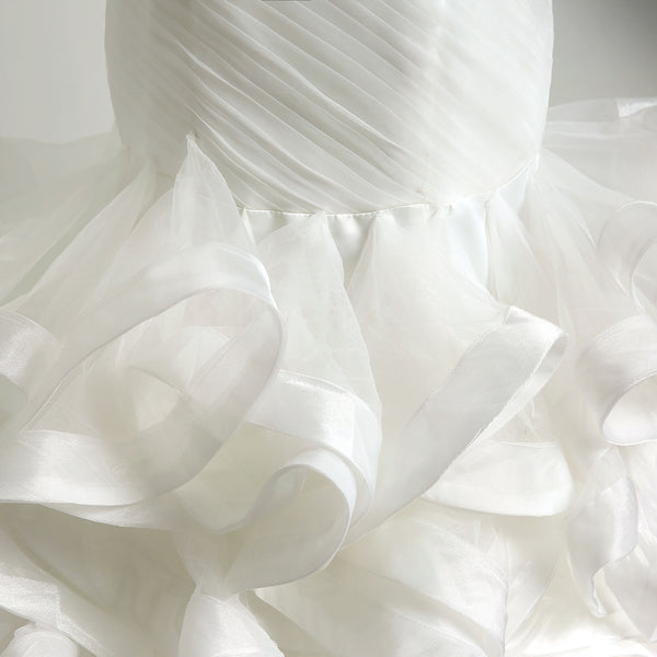 Mermaid Sweetheart White Ruffle Tiered Wedding Dress #W09