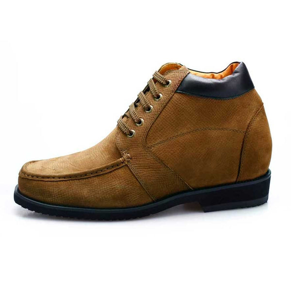 Tall men boots suede leather height increasing hiking ankle boots #V1931