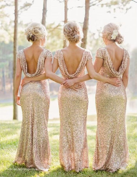 Hot Sales Sequin Cap Sleeves Mermaid Backless Bridesmaid Dresses Prom Dress Party Gown LD736