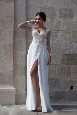 Elegant Long Sleeves Appliques Top White Brdial Wedding Dress #T01