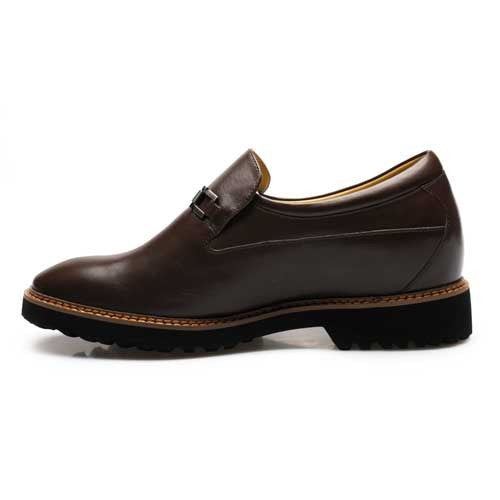 Luxury Best Quality Men Tailor Made Brown Cow leather 7.5cm height increasing shoes #J225A32-1