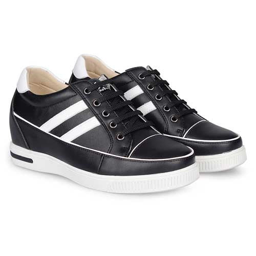 Fashion New Women Sport Style Black/White Microfiber Height Increase Shoes With Lifts 7CM #W40F48-2
