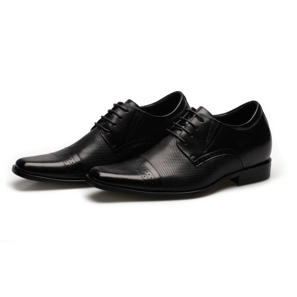 Cheap Sale Men Business Formal Black Dress Increase Height Shoes Look Taller # 021B02