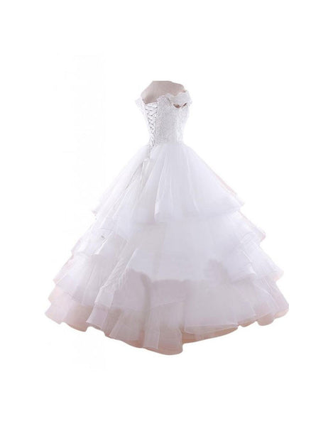 Sweetheart Graceful Retro Princess Off-shoulder White Wedding Dress #W06