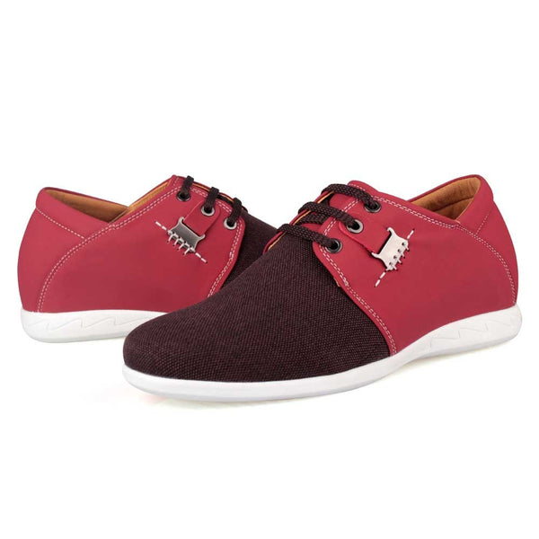 Spring Summer New Men Casual Rose Red Microfiber Elevator Shoes # LX83H31-2