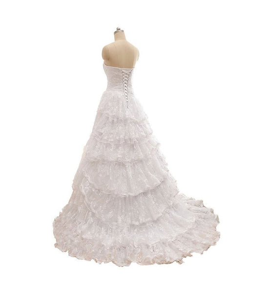 Gorgeous White Lace A Line Detachable Bridal Wedding Gowns #W08