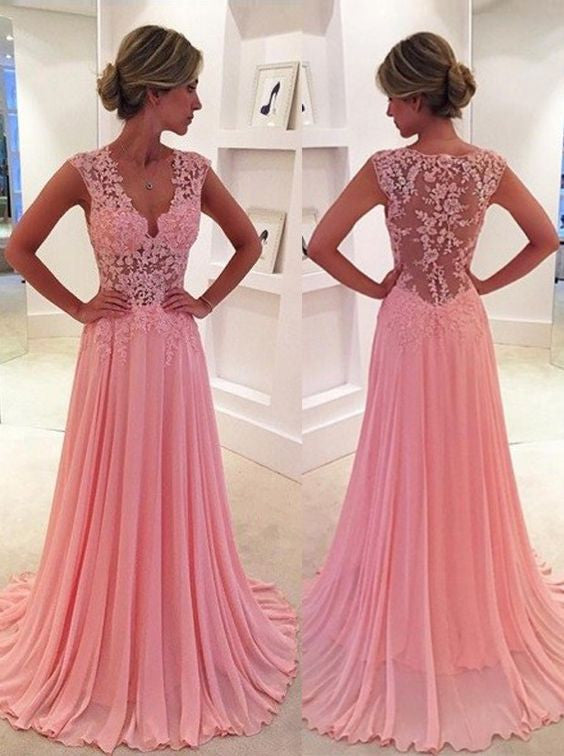 2017 Pink Chiffon Prom Dresses Sheer Lace Applique Top V Neck Long Elegant Evening Gowns #LF0671