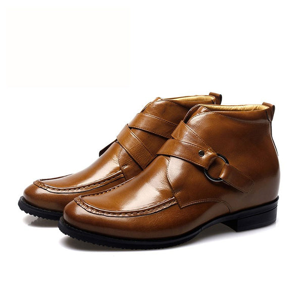 Waxed calfskin leather elevator boots for men #011H01