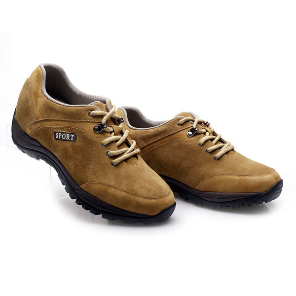 Suede leather brown lace-up hiking sport elevator shoes for men #D122A40-2