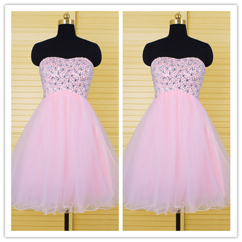 Pink Lovely Cute Homecoming Dresses #H101