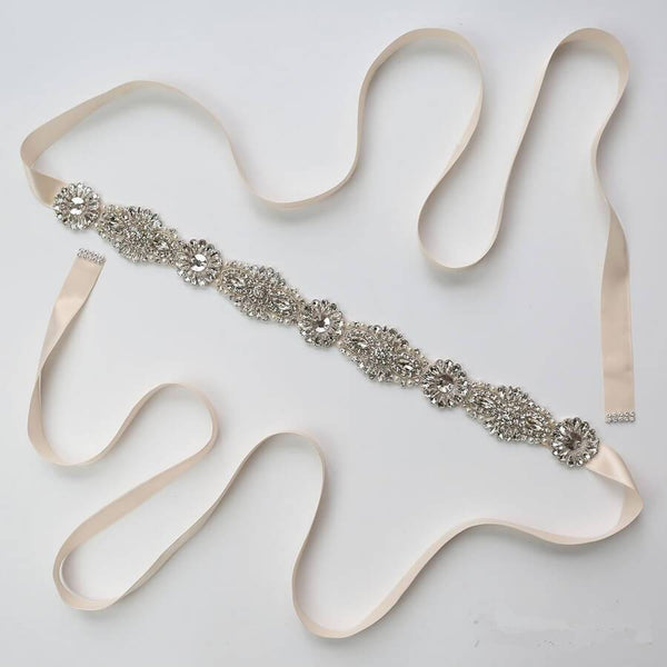 White Crystal Wedding Sashes with Ribbon Shiny Bridal Accessories Belts BEL1212