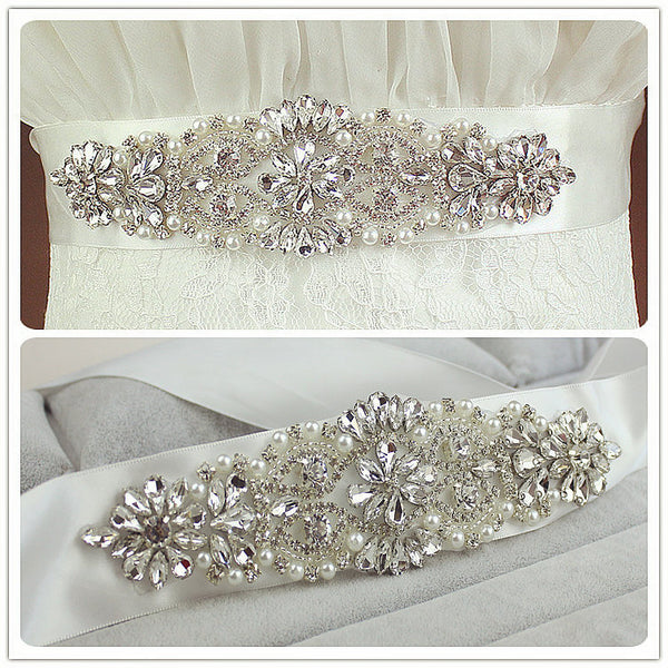 Shiny Diamond Crystal Cheap Wedding Sash with Ribbon Accessories Bridal Belts BEL1216