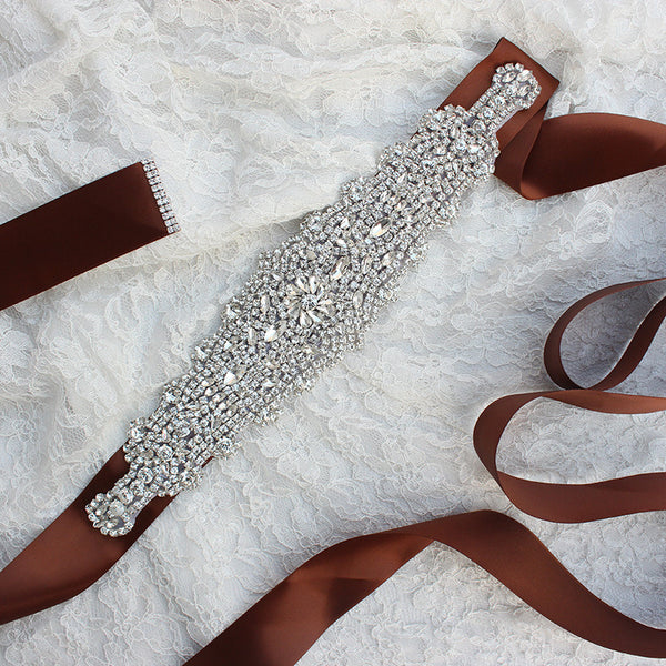 Luxurious Custom Made Diamond Crystal Wedding Sashes with Ribbon Accessories Bridal Belts BEL1217