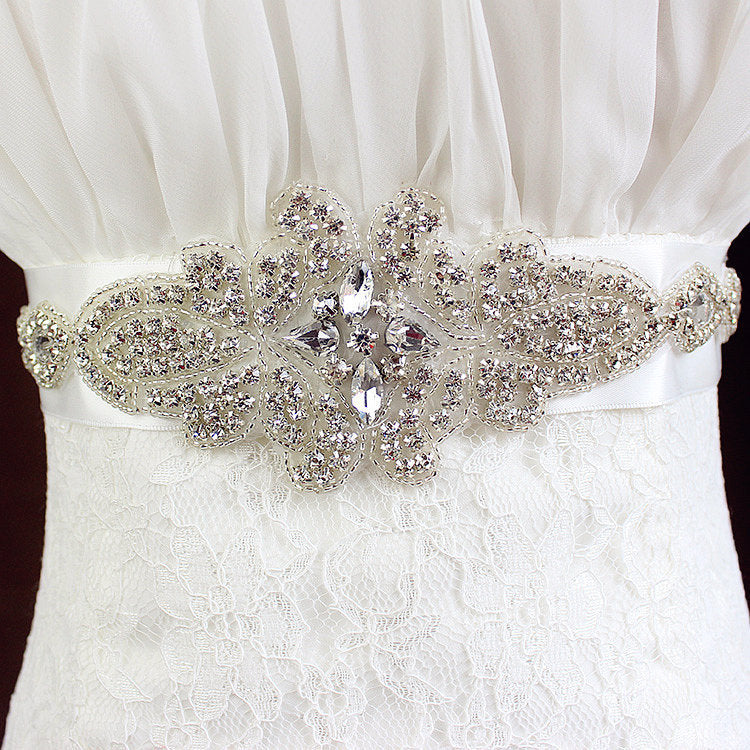 Ivory Hand Made Crystals Wedding Sashes with Ribbon Women Accessories Bridal Belt BEL1218