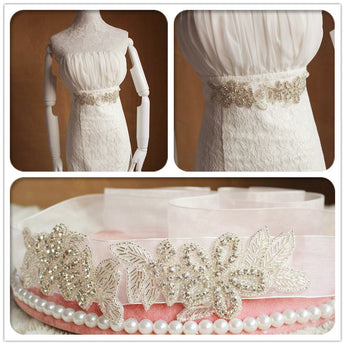 Beaded Crystals Wedding Sashes with Ribbon Cheap Women Accessories Bridal Belt BEL1219