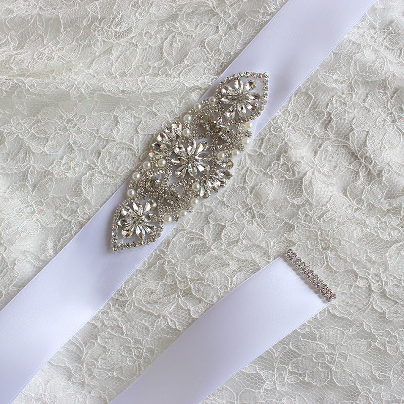 White Wedding Sashes with Ribbon Crystals Rhinestones Women Accessories Bridal Belt BEL1224