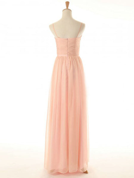 High Quality Column Spaghetti Long Peach Chiffon Bridesmaid Dresses #BN0001