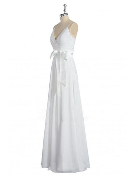 Perfect Column Chiffon V-neck Floor-length Draped Wedding Dresses #BN0008