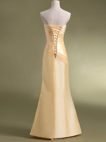 Simple Sheath Sweetheart Long Satin Bridesmaid Dress with Pleats #BN0014